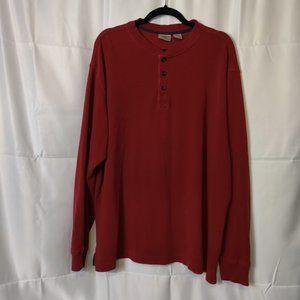 L.L. Bean Mens XL 3 Button Henley Red Sweater